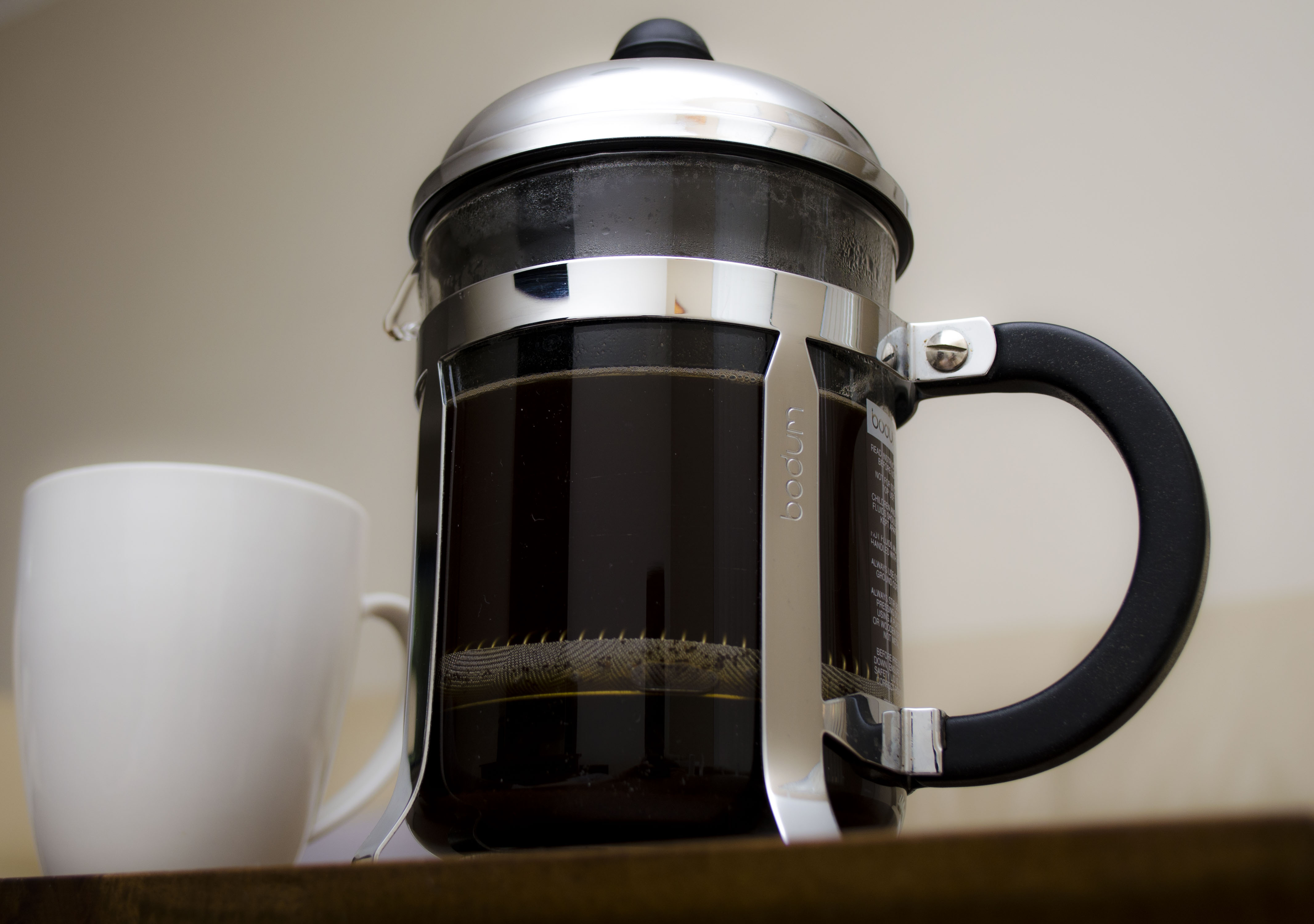 French press, coffee, pot, cup, black, drink, hot, beverage