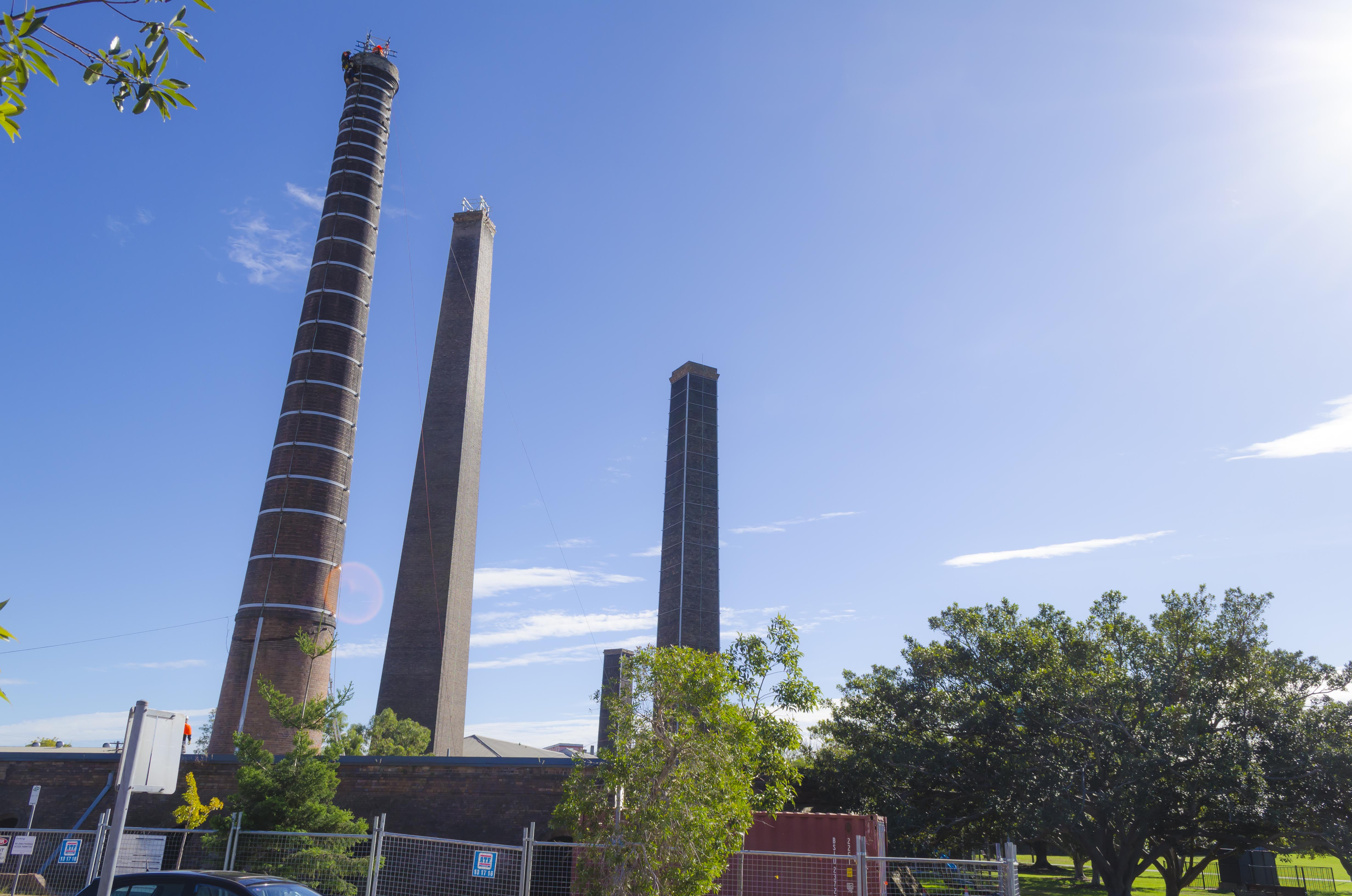Sydney Park, chimneys, smoke stacks,